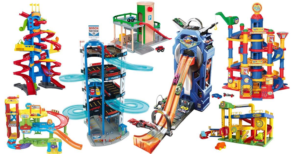 3 Ebenen Parkgarage mit 5 Autos Parkhaus Aufzug Spielstrasse Spielautos Rennbahn
