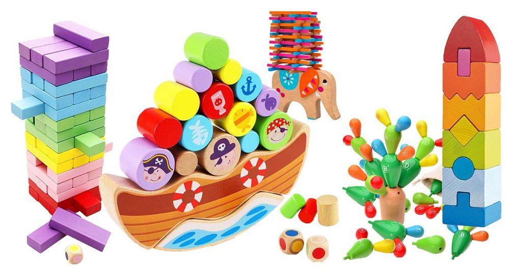 Kinder Stapelspiel Holz Spielzeug Holzturm für Kinder Familie