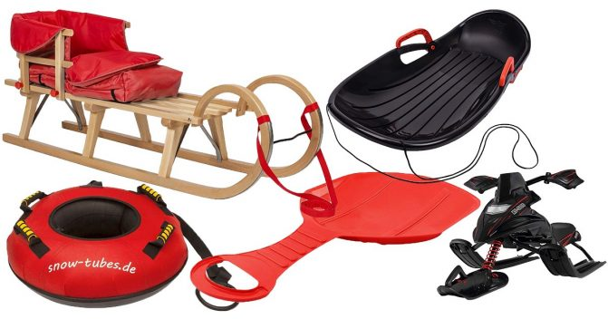 Schlitten mit Lehne Lenkrad Kinderschlitten rot Kunststoff