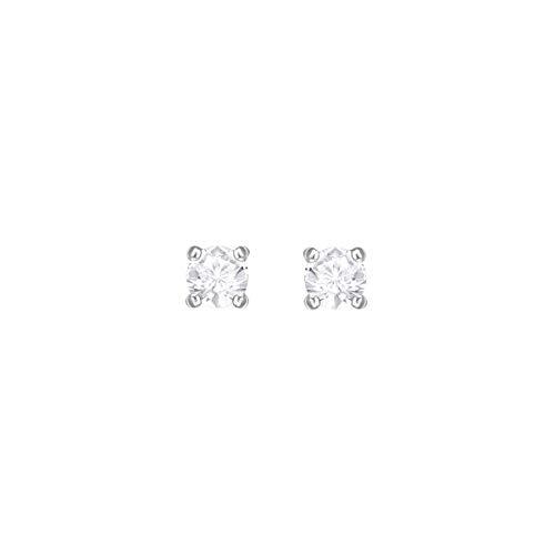 Swarovski Attract Round Ohrringe, Weiße und Rhodinierte Ohrstecker mit Funkelnden Swarovski Kristallen