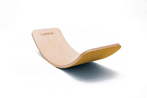 Wobbel Wobbelboard Yogaboard PRO transparent lackiert mit Filz Mustard Gelb