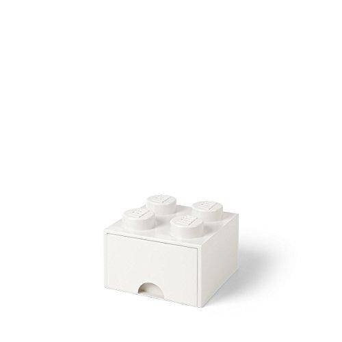 LEGO 4005 Brick 4 Knöpfe, 1 Schublade, stapelbar Aufbewahrungsbox, 4,7 l, weiß, Plastik, Legion/White,...