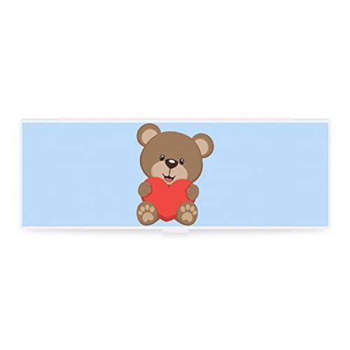 Süße kleine & große transparente Federmappe Box Zubehör Tasche Kunst Design Tier Spielzeug Bär...