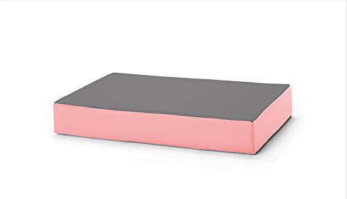 traturio Hüpfmatratze für alle kleinen und großen Hüpfer 130x90x25cm (Mittelgrau/rosa)