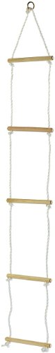 Playtastic Seilleiter: Strickleiter mit 5 Holzsprossen für Kinder (Kletterleiter)