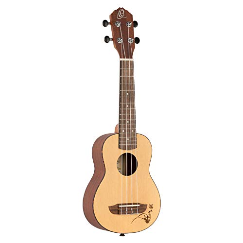 Ortega Guitars Sopran Ukulele - Bonfire Series - Fichtendecke mit lasergaviertem Motiv (RU5-SO)