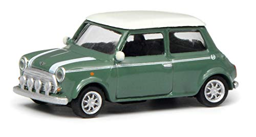 Schuco 452639200 Mini Cooper, 1:87 452639200-Mini, grün/weiß, Modellauto, Modellfahrzeug