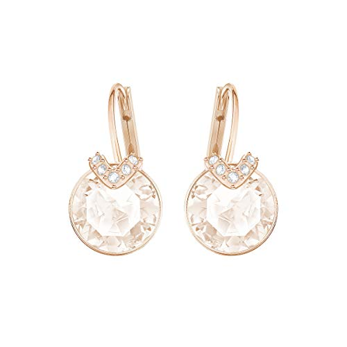 Swarovski Bella Drop Pierced Earrings, with Pink Crystals, Rose-Gold Tone Plated Setting and Clear...
