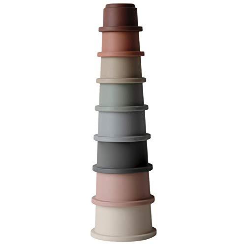 Stapelturm Pyramide mit 8 Becher | 100% BPA-frei Stapelspiel | Lernspielzeug für Kinder 0-3 years...