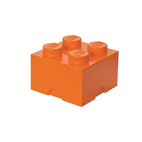 LEGO Aufbewahrungsstein, 4 Noppen, Stapelbare Aufbewahrungsbox, 5,7 l, orange