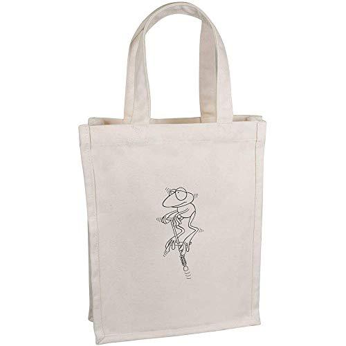 Azeeda 'Frosch auf einem Pogo-Stick' Kleine Premium Canvas Einkaufstasche (BG00035525)