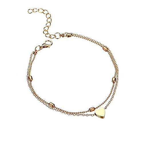 Elegantes Fußkettchen für Frauen / Damen / Jugendliche mit Herzchen Anhänger Farbe Gold/ Sexy modisch...