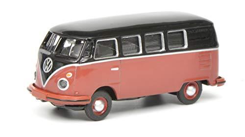 Schuco 452633700 VW T1c Bus, Modellauto, 1:87, schwarz/rot