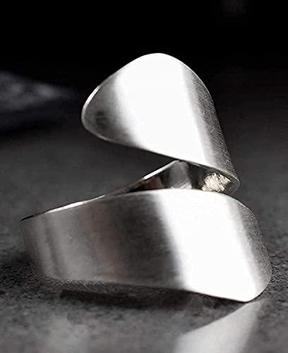 Silber Ring Damen Offen Breit - 925 Sterling - Verstellbar - Breiter Weicher Spiralring mit Geschenkbox