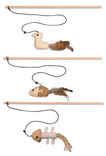 ecoworks Premium Katzenspielzeug  natürliche robuste Spielangel mit Maus   Stofftier 3er Set zur...