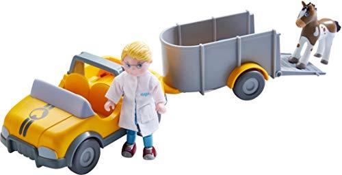 HABA 303926 - Little Friends – Tierarzt-Auto mit Anhänger, Set mit Auto, Anhänger, Tierarzt Andreas...