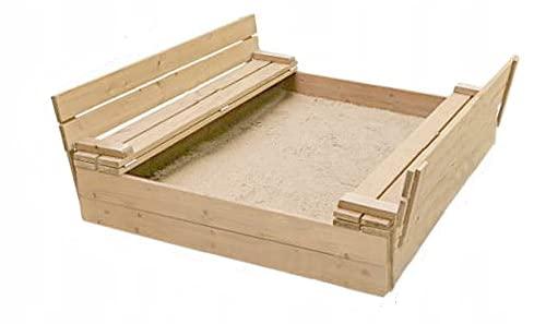 Sandkasten mit Sitzbank 120 x 120 x 21 cm , Natur Holz Imprägniert Abdeckung Deckel Kindersandkasten -...