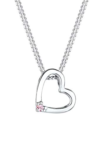 Elli Halskette Damen Herz Anhänger Filigran mit Kristalle in 925 Sterling Silber