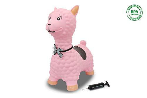 Jamara 460543 Hüpftier Lama rosa mit Pumpe-bis 50 kg, fördert den Gleichgewichtssinn und die...