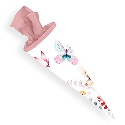itenga Schultüte 70cm groß rund Schmetterling Einschulung Schulanfang - Zuckertüte für Mädchen