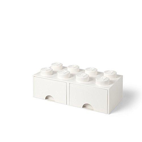 LEGO 4006 Brick 8 Knöpfe, 2 Schubladen, stapelbar Aufbewahrungsbox, 9,4 l, weiß, Plastik, Legion/White,...