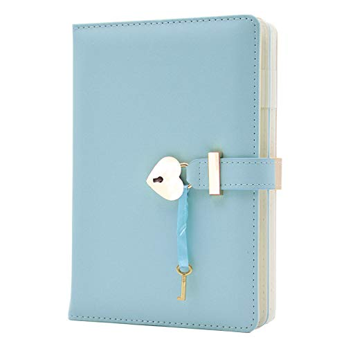 Lirener Tagebuch mit Schloss und Schlüssel, A5 PU Leder Notizbuch Abschließbares Tagebuch Reise...