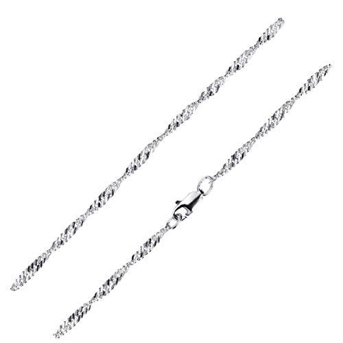 MATERIA Feine Singapurkette 925 Silber Kette Damen 40cm - 3mm Halskette Frauen flach diamantiert K95-40...