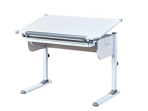Inter Link Schreibtisch Schülerschreibtisch ergonomisch mit Schublade aus Metall und MDF in Weiss und...