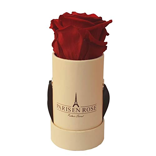PARIS EN ROSE Mini Rosenbox Palais-Secret | beige Flowerbox mit bordeauxroter Infinity Rose | 1...