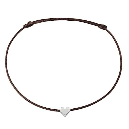 Fußkettchen Herz Silber auf braunem Satinband - Größenverstellbar Selfmade Jewelry Handmade...