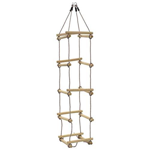 vidaXL Holz Strickleiter mit 5 Holzsprossen Kletterseil Kletterleiter Seilleiter Kinderleiter Kinder...