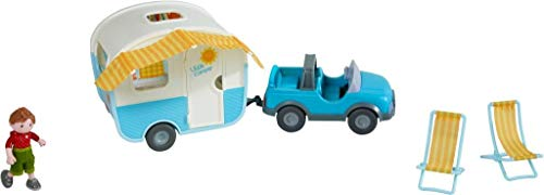 HABA 304740 - Little Friends – Spielset Urlaubsreise, mit Gelände- und Wohnwagen, Liegestühlen und...