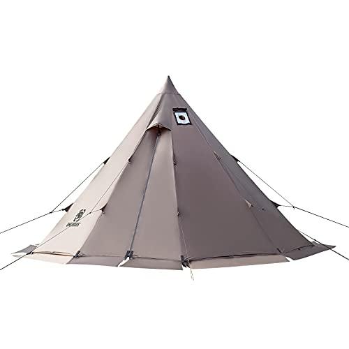 OneTigris Zelt Tipi Zelt Firstzelte für 4-6 Personen Pyramidenzelt mit Zeltstange 4 Jahrzeit Campingzelt...