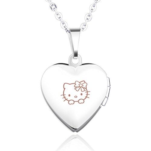 Unendlich U Hello Kitty Muster Eingraviert Öffenbares Herz Foto Medaillon Edelstahl Rosa Damen Mädchen...