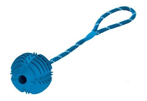 HUNTER TRAINING TOOTH BALL Hundespielzeug, Apportierspielzeug, Gummi, zahnfreundlich, Wurfseil, blau