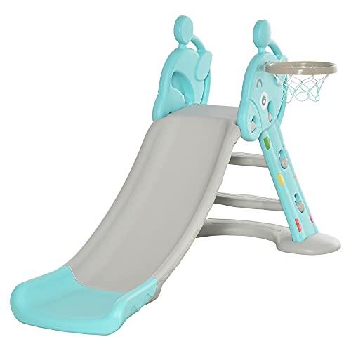 HOMCOM Kinderrutsche mit Basketballkorb faltbare Spielzeugrutsche mit verlängerter Heckkissen...