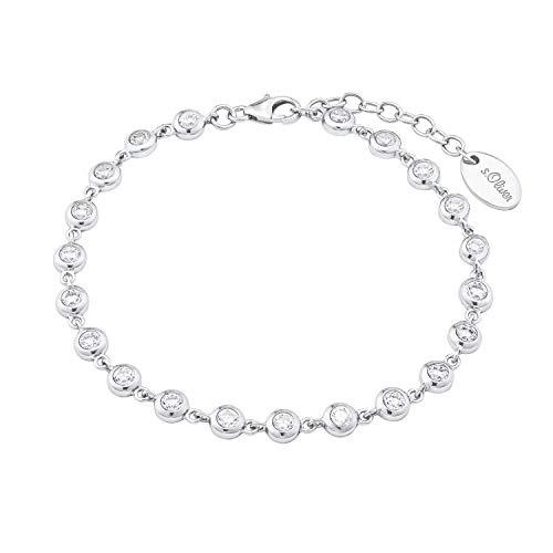 s.Oliver Damen Gliederarmband (17+3 cm) aus 925 Sterling Silber mit Zirkonia weiß