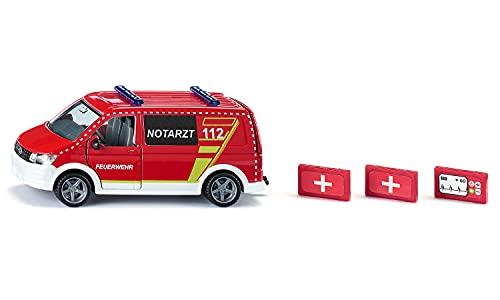 siku 2116, VW T6 Notarztwagen, Metall/Kunststoff, Rot/Weiß, Fahrer- und Beifahrertür und Heckklappe zum...