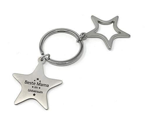 Schlüsselanhänger Sterne Beste Mama im Universum - matt Silber mit Gravur - stilvolles Geschenk zu...