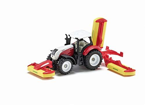 siku 1672, Steyr Traktor mit Pöttinger Mähwerkskombination, Metall/Kunststoff, Rot, Spielzeugfahrzeug...