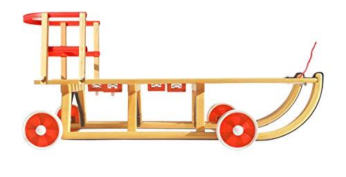 Roll Rodel Original Holzschlitten mit Rädern zum Einsatz auf Teer und Schnee - Schlitten mit Rollen,...
