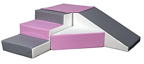 Velinda 4 Großbausteine Schaumstoffbausteine Spielbausteine Bauklötze Rutsche-Set (Farbe:...