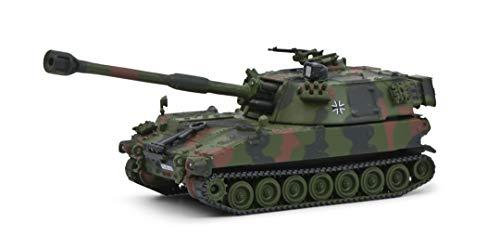 Schuco 452651900 Panzerhaubitze M-109G, Modellauto, Maßstab 1:87, Flecktarn