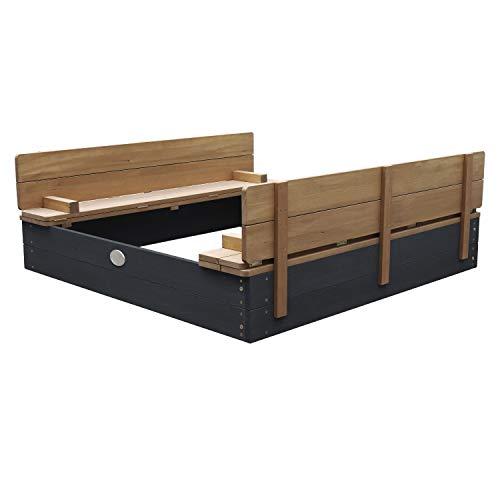 AXI Sandkasten Ella aus Holz mit Deckel XL | Sand Kasten mit Sitzbank & Abdeckung für Kinder in...