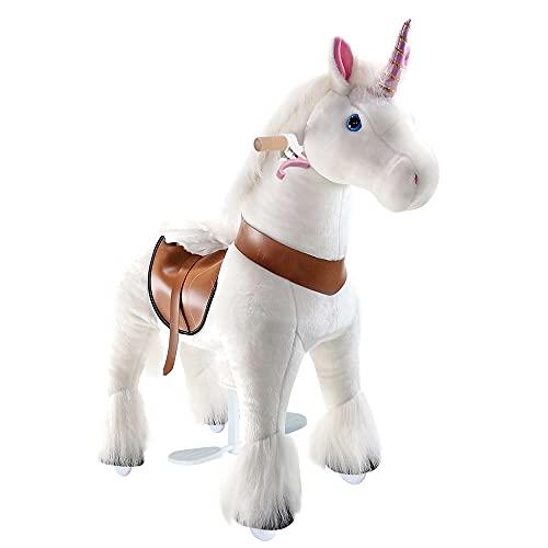 PonyCycle Offizielle Klassisch Modell U 2021 Reiten auf Einhorn Spielzeug Plüsch Lauftier Wei? Einhorn...