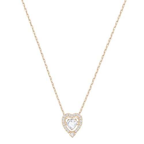 Swarovski Collar Sparkling Dance Heart, blanco, Baño en tono Oro Rosa