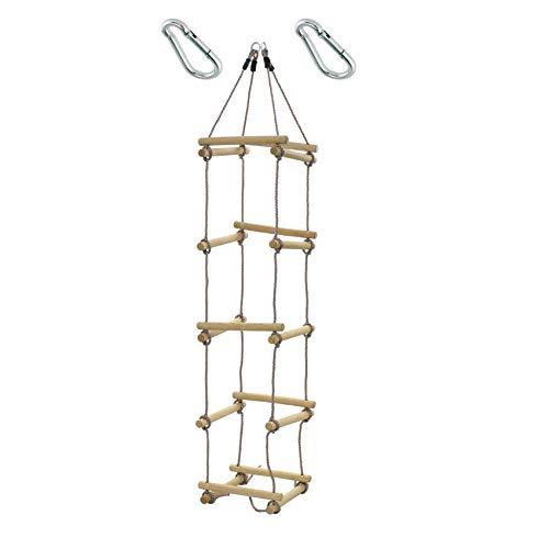 1 Stück h2i Kinder Strickleiter Kletterleiter 4-seitig mit Karabiner zum Einhängen