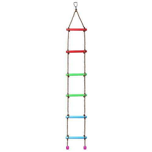 BIGLUFU Seilleiter Feuerleiter Kletterleiter Strickleiter Kinder Kunststoff für Häuser mit 6 Sprossen...