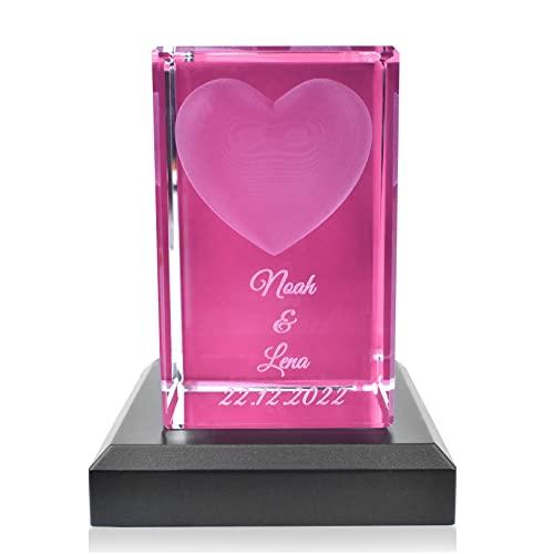 Kristall Glas 3D Herz - Personalisiertes Geschenk für Frauen und Männer - Geschenkidee zum...