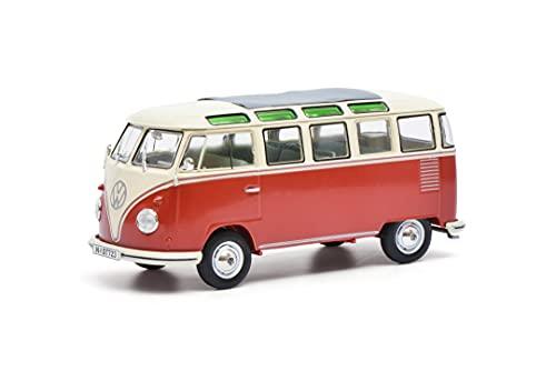 Schuco 450785200 VW T1 Samba, Modellauto, Zinkdruckguss, Maßstab 1:32, rot/beige